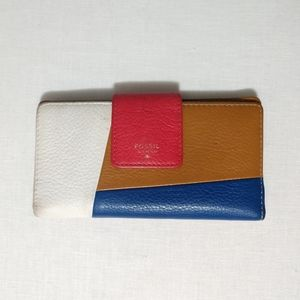 Fossil Colorblock Wallet Clutch Cowhide Leather